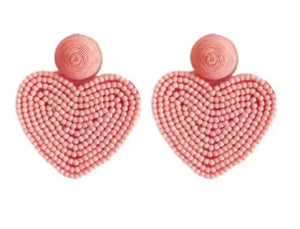 Beaded heart pink earrings