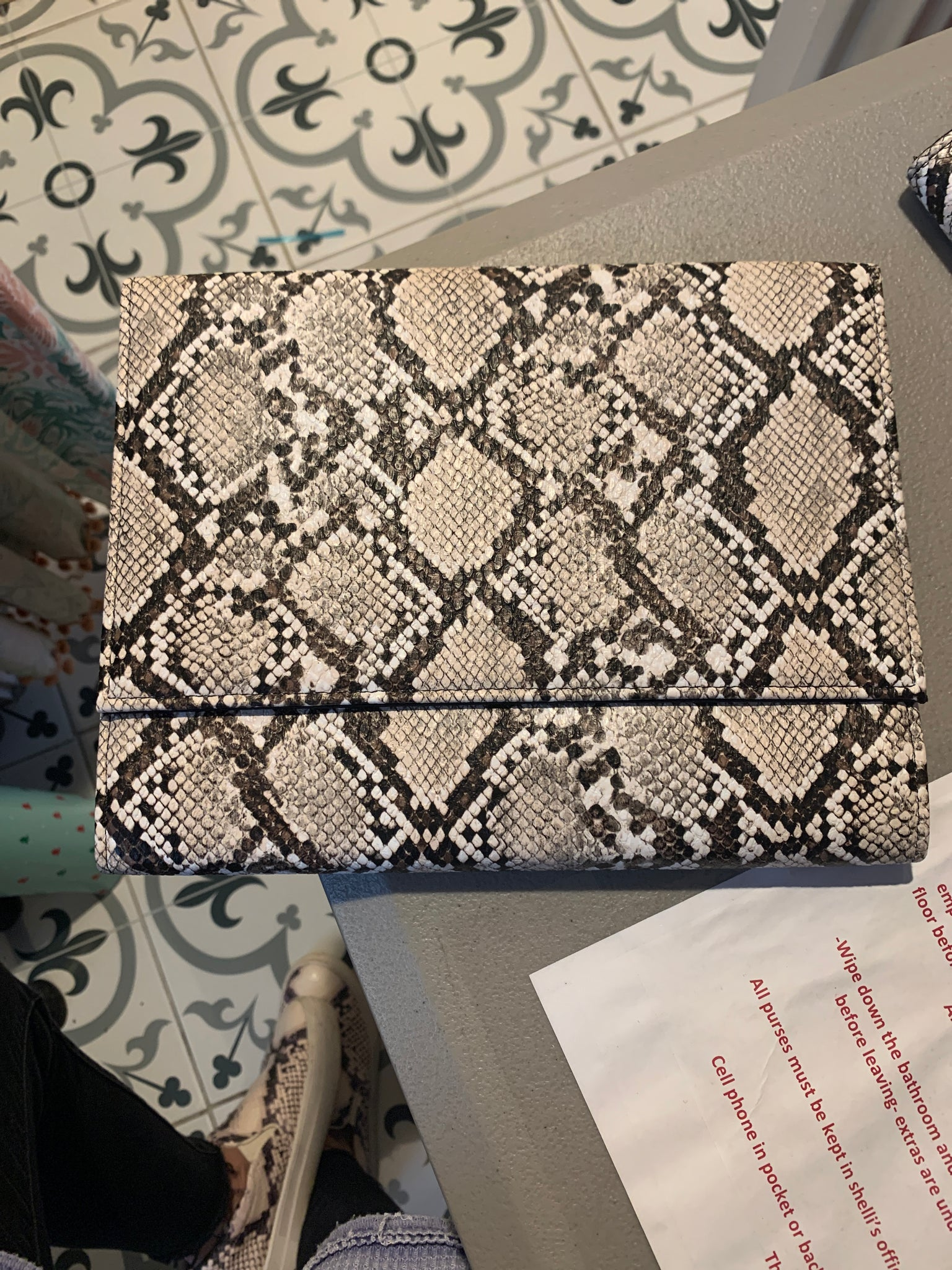 Square snakeskin clutch