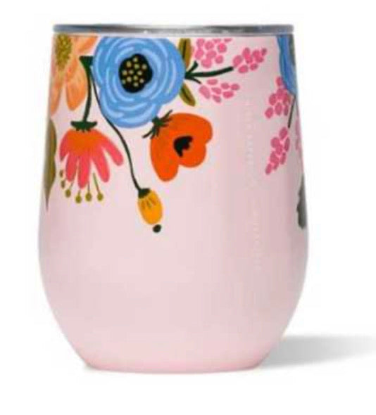 Pink flower rifle stemless corkcicle