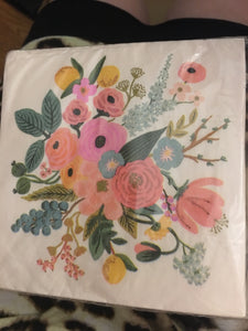 Light pink floral napkin