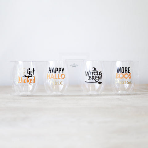Halloween To Go Wine Glasses