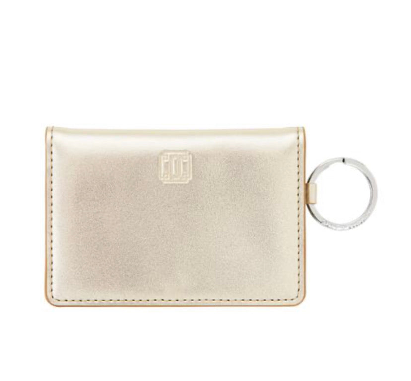 Oventure gold leather ID case
