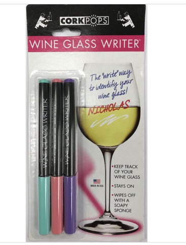 Cork pops wine glass pens
