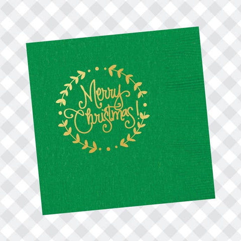 Green Merry Christmas Napkins
