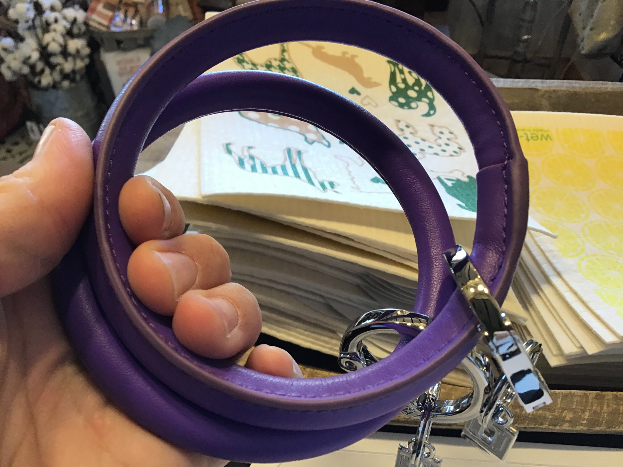 Leather purple oventure key ring