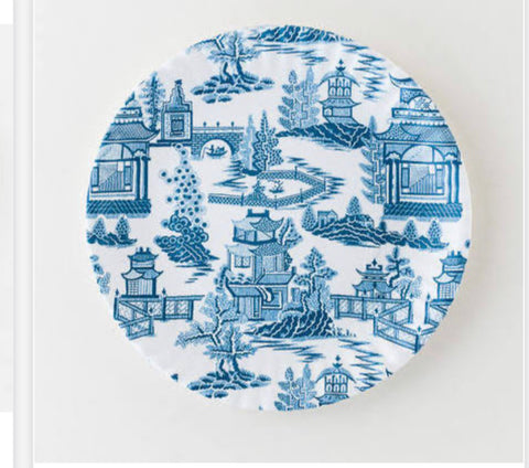 Blue Chinese print paper plates- melamine