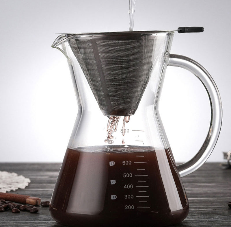 Stainless Steel Paperless Pour Over Coffee Dripper for Slow Drip Coffee