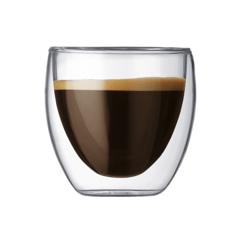 80ml Borosilicate Glass with Double-wall Insulation for espresso and Latte coffees or Tea.