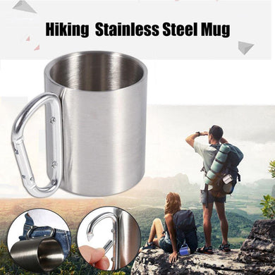 Outdoor Food Grade Stainless Steel Coffee Mug with a Self Lock Handle