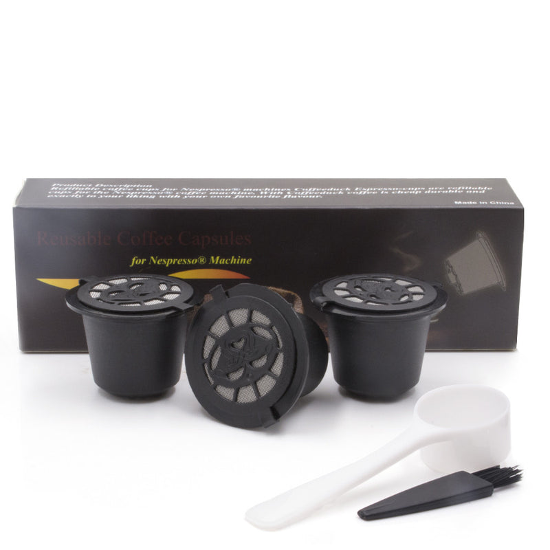 6 x Espresso Reusable and Refillable Coffee Capsules For Nespresso With a Spoon and Brush