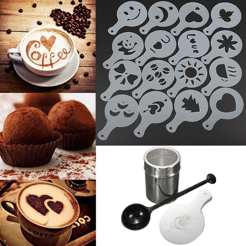 Stainless Steel Chocolate Shaker with a set of 16Pcs Plastic Coffee Art Stencils.