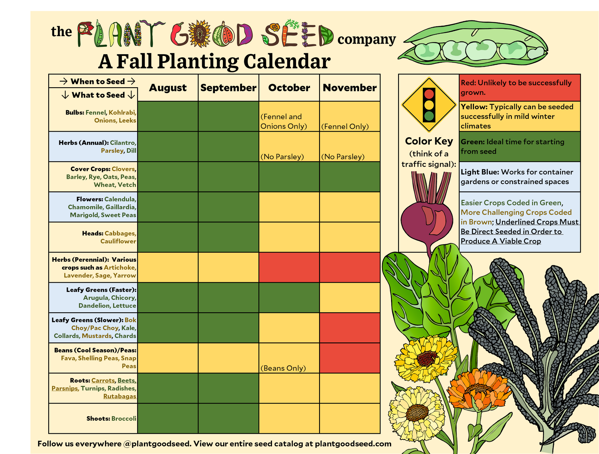 picture regarding Printable Seed Starting Chart known as Seasonal Planting Calendars The Plant Fantastic Seed Organization