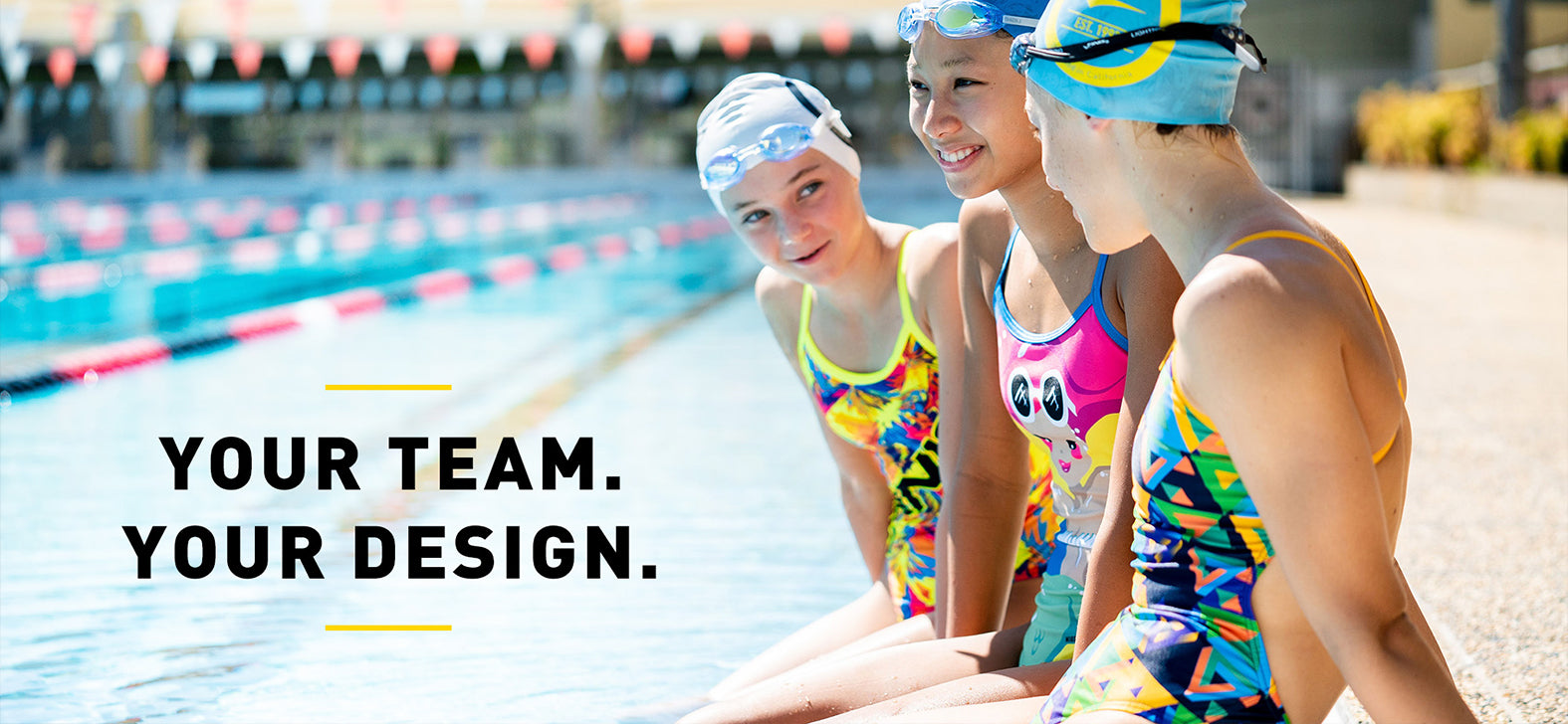 3 girls wearing finis custom Bladeback swimsuits,  Openback swimsuits, smiling by the Finis Swimming Pool in California.