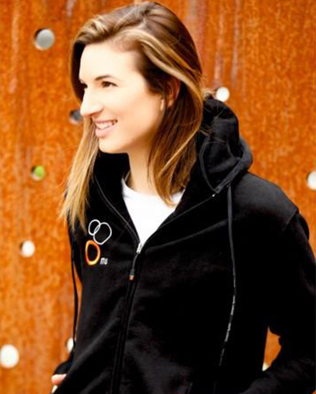 Model wearing the Internation Triathlon Union (ITU) logo zipper hoodie