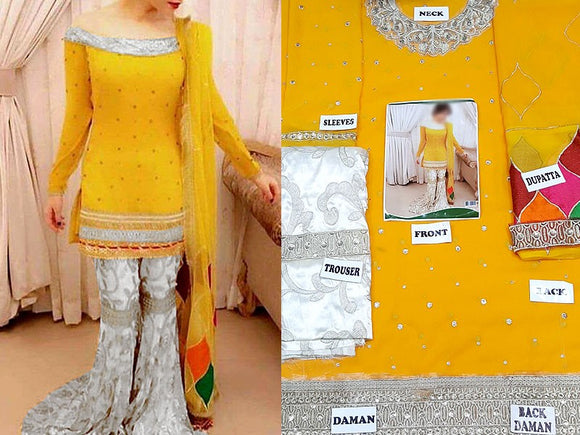 Neelam Muneer Embroidered Chiffon Mehndi Dress (DZ10064)