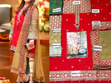 Embroidered Red Chiffon Suit with Jamawar Trouser (DZ10535)