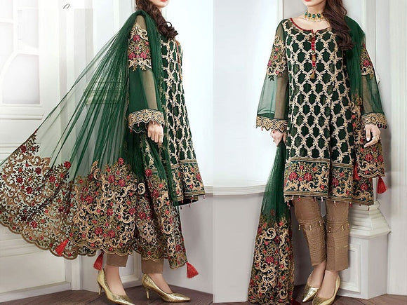 Embroidered Chiffon Party Dress (DZ10820)