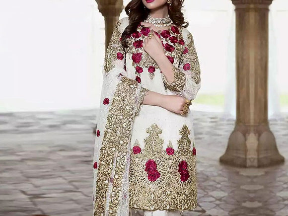 Embroidered Chiffon Wedding Dress (DZ10965)
