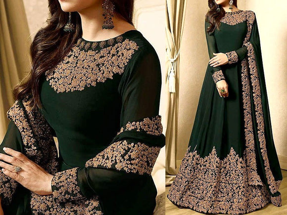 Indian Embroidered Green Chiffon Maxi Dress (DZ11314)
