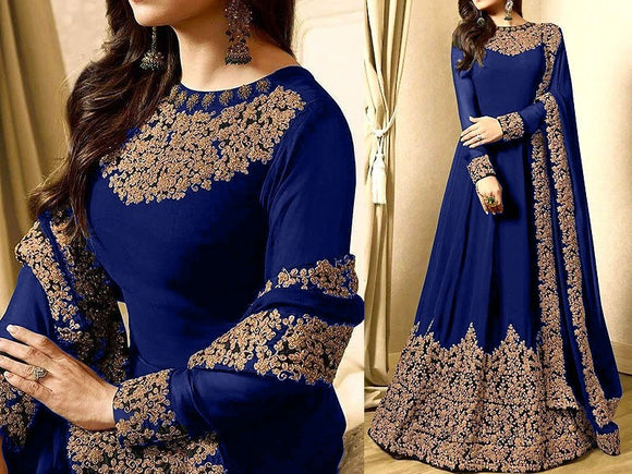 Indian Embroidered Blue Chiffon Maxi (DZ11359)