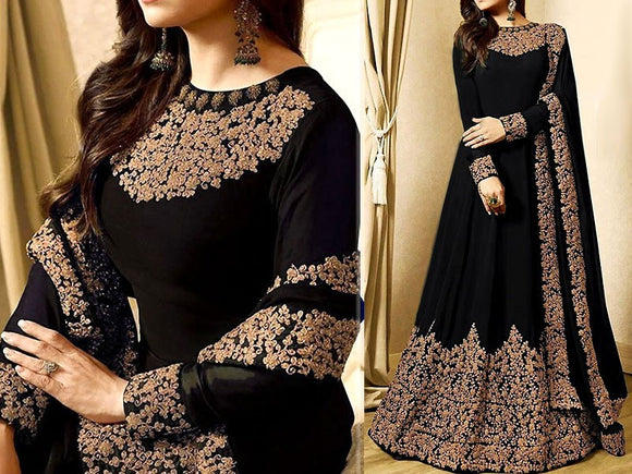Indian Embroidered Black Chiffon Maxi Dress (DZ11395)