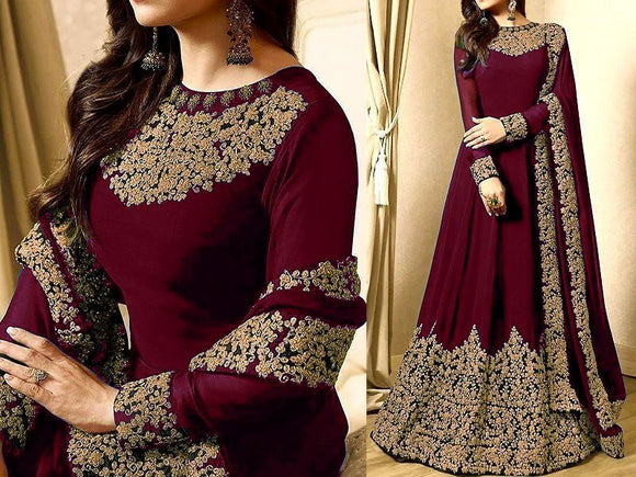 Indian Embroidered Maroon Chiffon Maxi (DZ11478)