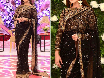 Embroidered Black Chiffon Saree (DZ11536)