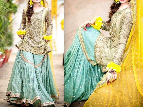 Embroidered Net Dress with Chiffon Dupatta (DZ11548)