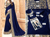 Indian Embroidered Navy Blue Chiffon Saree (DZ11549)