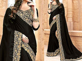 Indian Embroidered Black Chiffon Saree (DZ11556)