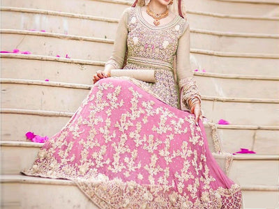 Heavy Embroidered Chiffon Bridal Dress (DZ11589)