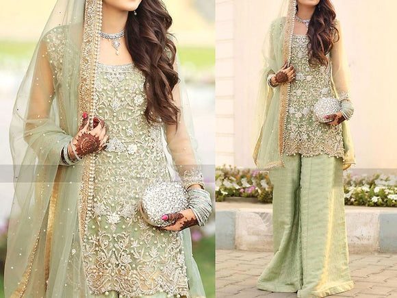 Heavy Embroidered Net Bridal Dress (DZ11607)