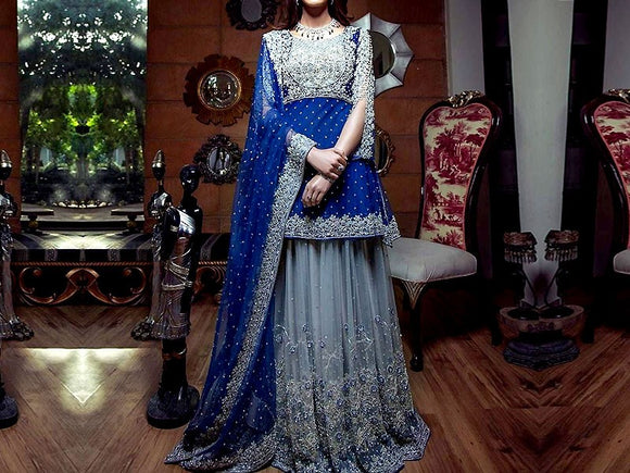 Kiran Faheem Replica Embroidered Chiffon Wedding Dress (DZ11611)