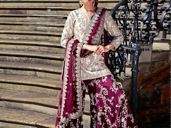 Embroidered Chiffon Dress with Embroidered Silk Trouser (DZ11635)