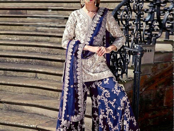 Embroidered Chiffon Dress with Embroidered Silk Trouser (DZ11673)
