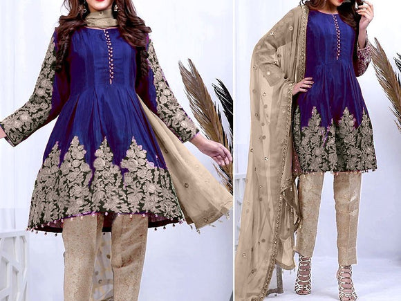 Embroidered Blue Chiffon Suit with Net Dupatta (DZ11786)