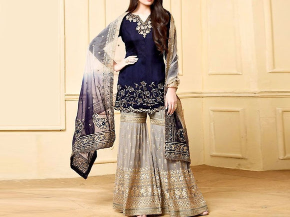 Nazakat Replica Heavy Embroidered Chiffon Suit (DZ11796)