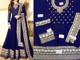 Indian Embroidered Navy Blue Chiffon Maxi (DZ11996)
