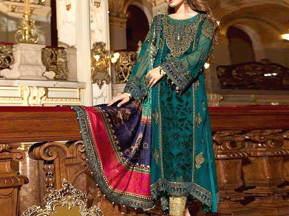 Maria B Replica Heavy Embroidered Chiffon Suit (DZ12140)