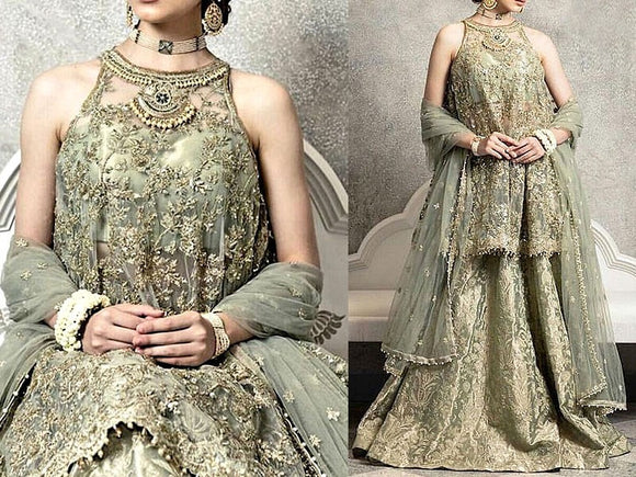 Zara Shahjahan Replica Embroidered Masoori Net Dress (DZ12267)