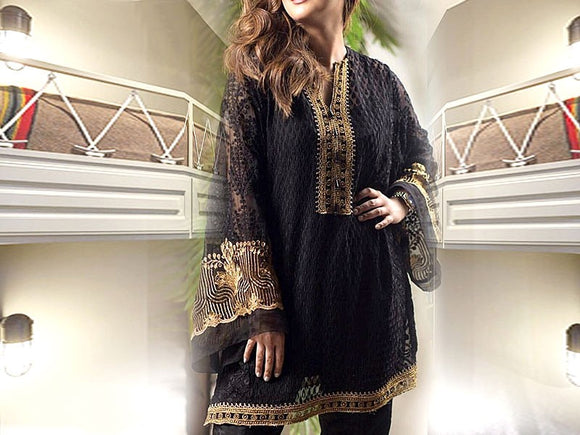 Embroidered Black Chiffon Kurti (DZ12390)