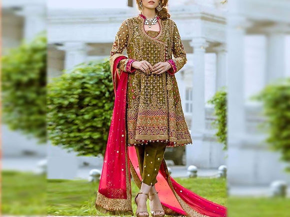 Aisha Imran Replica Embroidered Chiffon Bridal Dress (DZ12501)