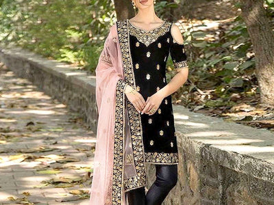 Indian Embroidered Black Velvet Dress (DZ12506)