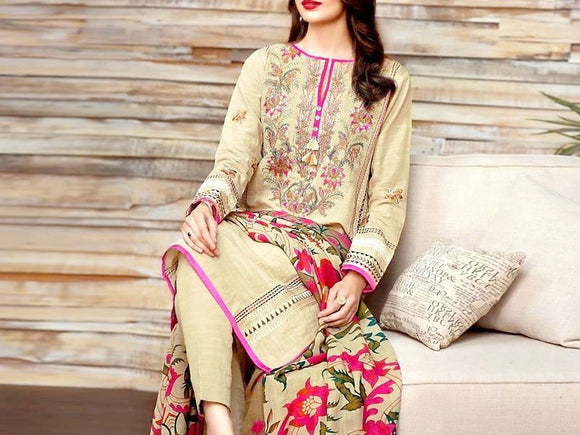 Khaadi Replica Embroidered Khaddar Dress (DZ12521)