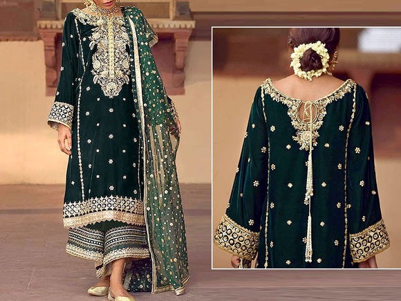 Annus Abrar Replica Embroidered Velvet Dress (DZ12557)