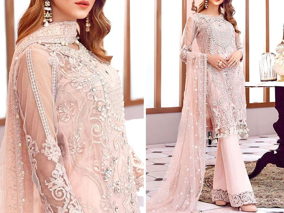 Embroidered Fancy Chiffon Dress (DZ12656)
