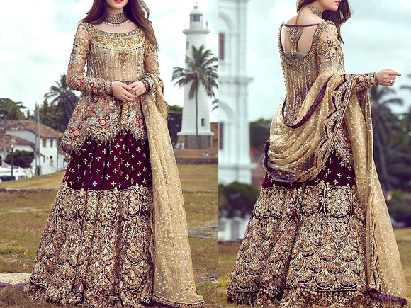 Annus Abrar Replica Embroidered Chiffon Bridal Dress (DZ12673)