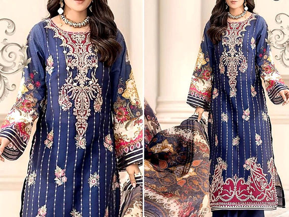Noor By Saadia Asad Replica Embroidered Airjet Lawn Dress (DZ12923)