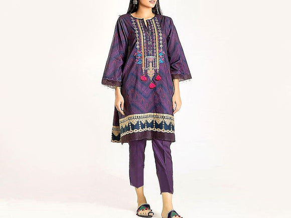 Khaadi Replica Embroidered Lawn Dress (DZ12931)