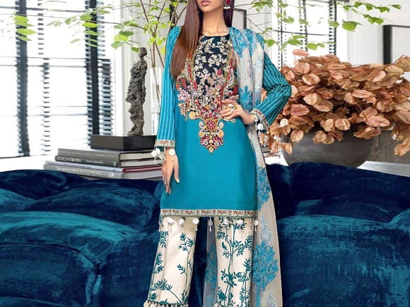 Sana Safinaz Replica Embroidered Airjet Lawn Dress (DZ12957)